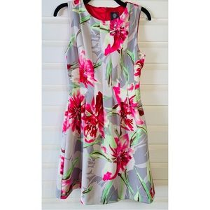 Vince Camuto | Grey Pink Floral Pleated Dress